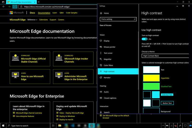 Windows, including a page in Microsoft Edge, rendered in a user's dark high contrast scheme