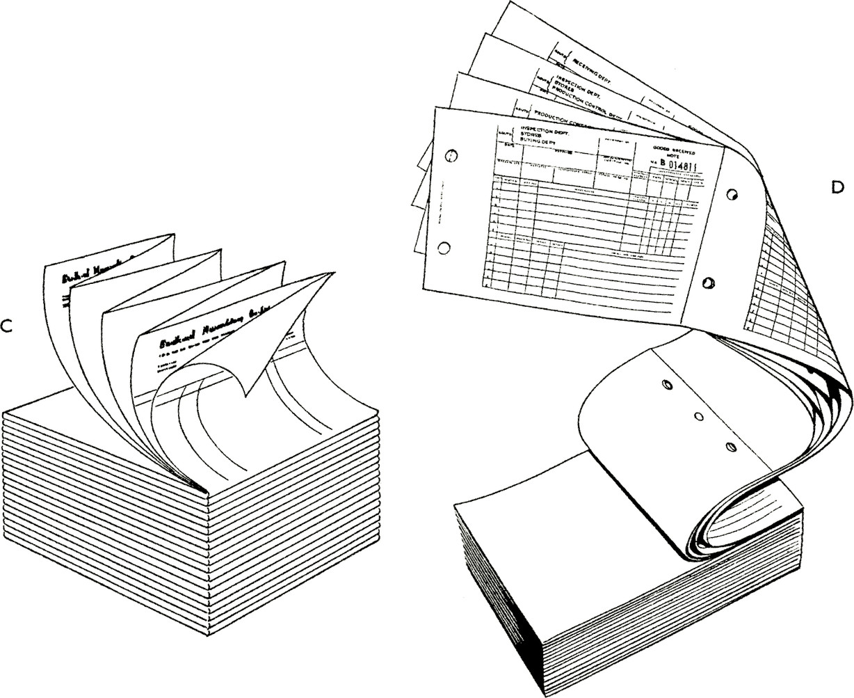 These forms are made up in perforated strips (6 forms per sheet) to facilitate typing.
