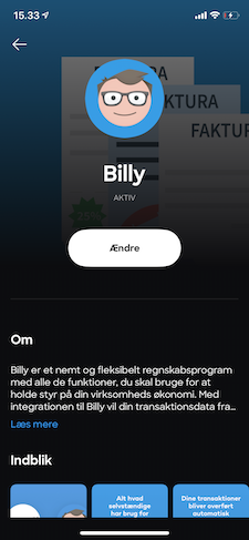 Integrationen mellem Billy og Lunar er sat op