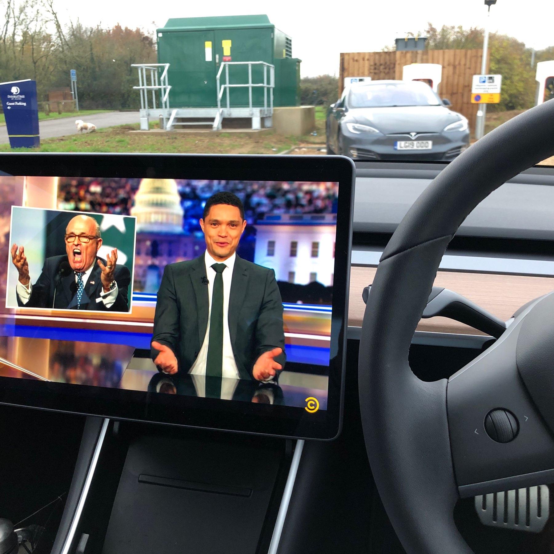 Watching YouTube in Tesla