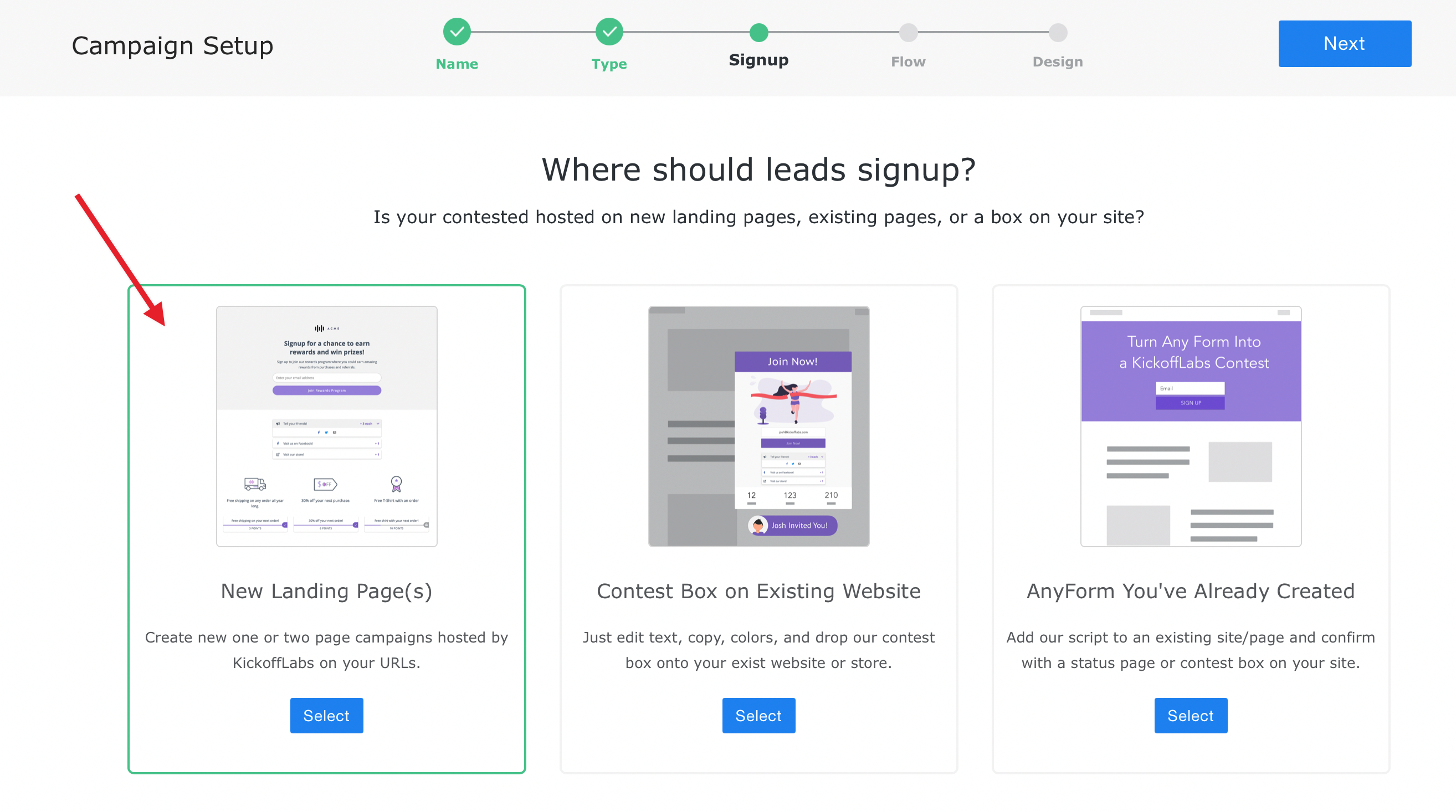 choose how lead will signup