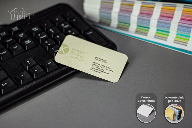 Vizitinės kortelės. Dekoratyvinis popierius.