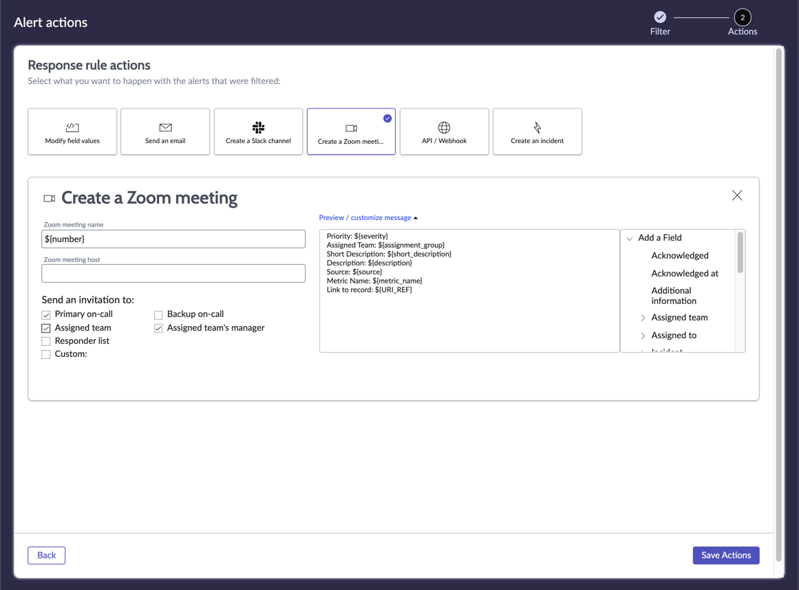 Setting up a zoom meeting for the alert