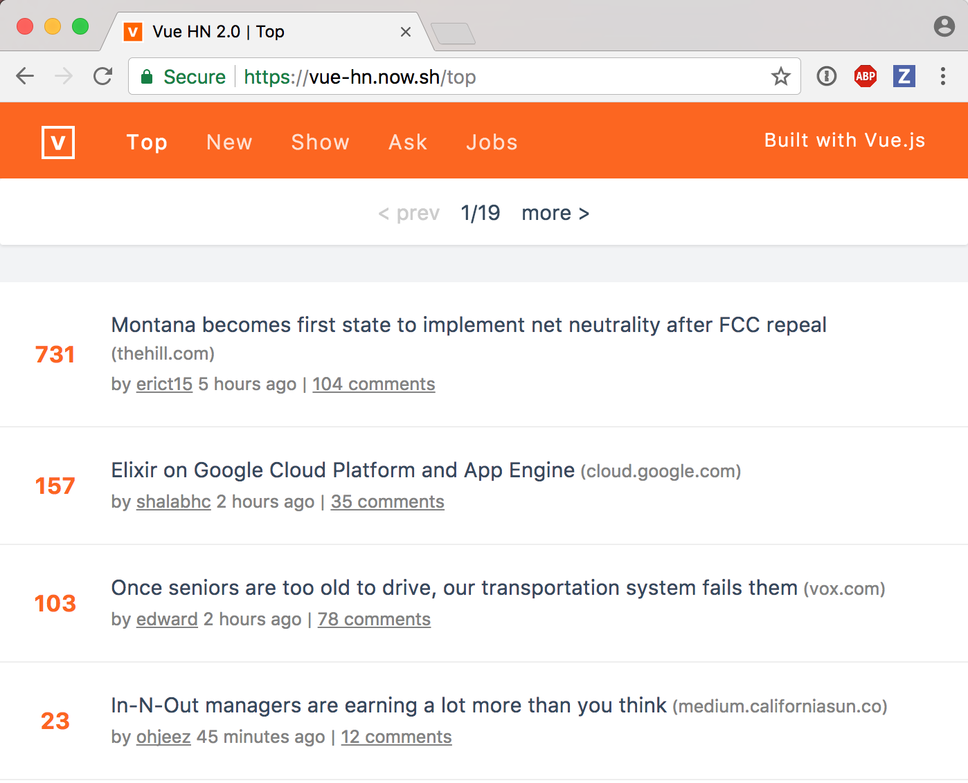 HackerNews with Vue