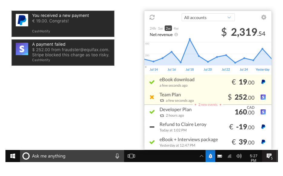 CashNotify app for Windows