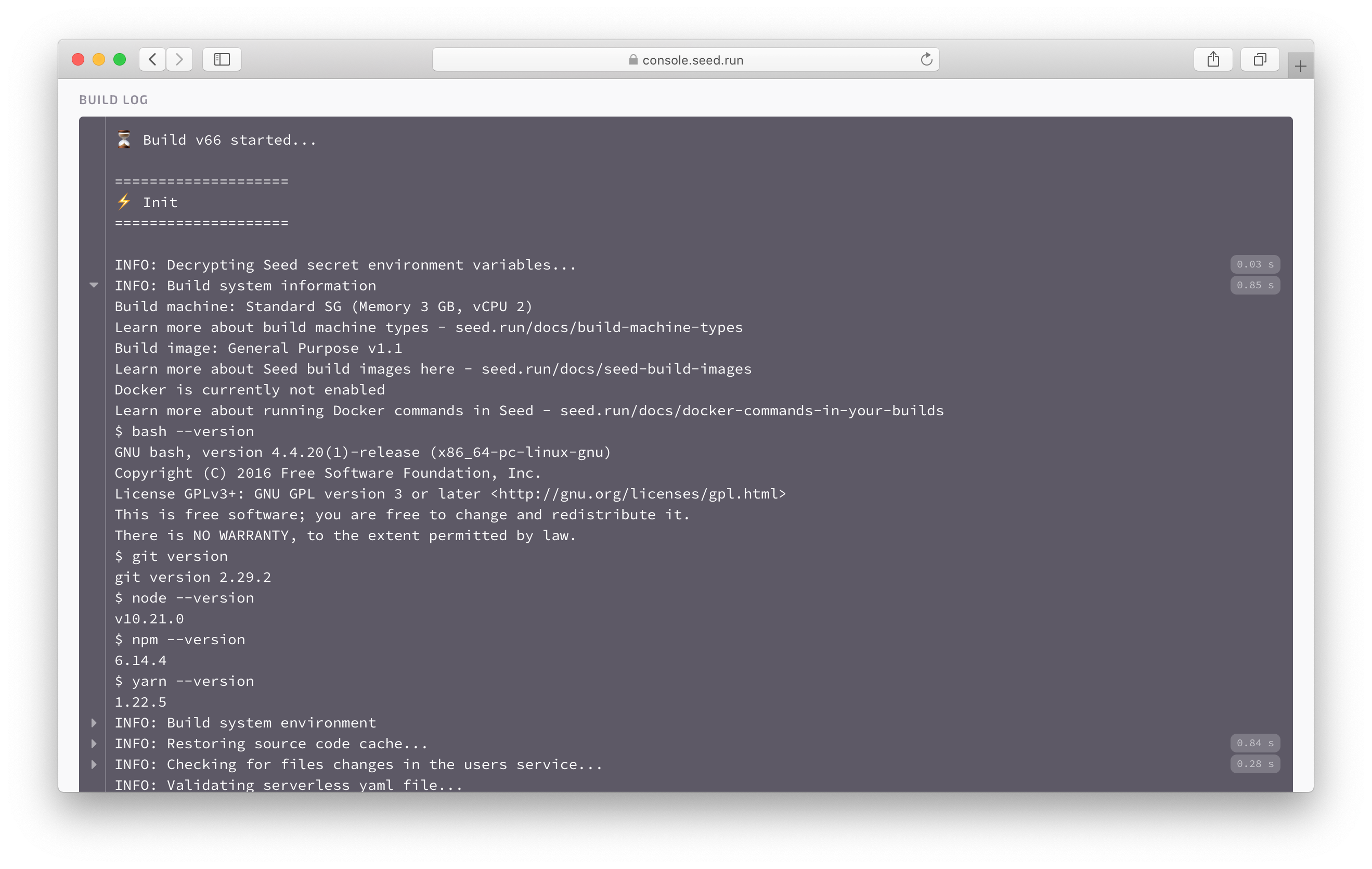 Build machine info in build log