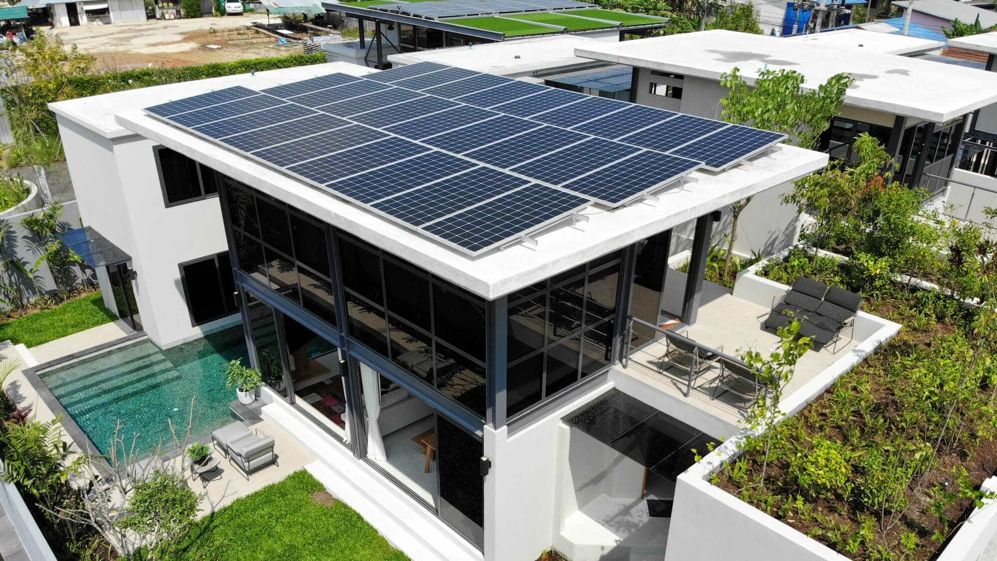 View of Solar Panels on a Phuket Home