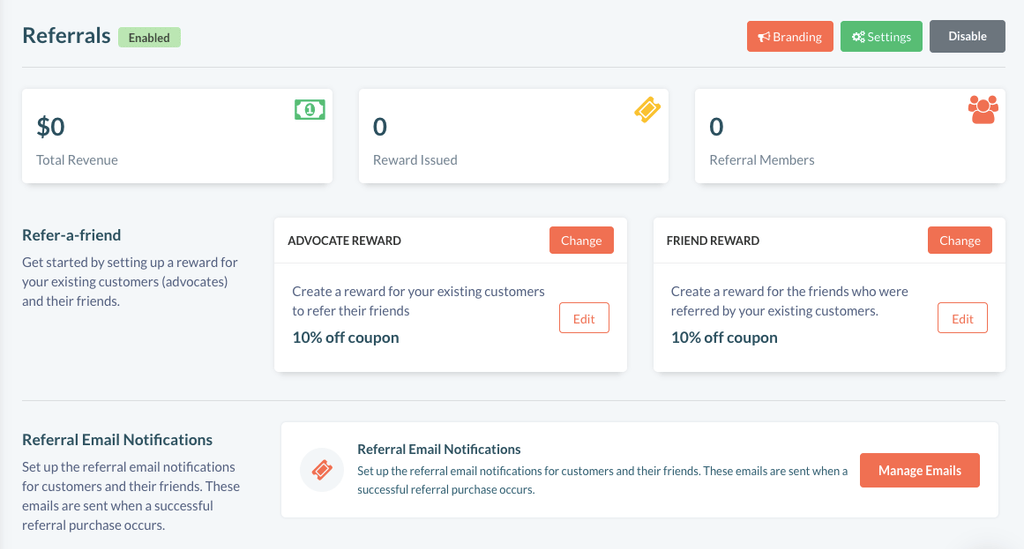 Referral dashboard