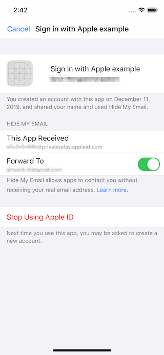 View and manage Sign in with Apple in the account settings