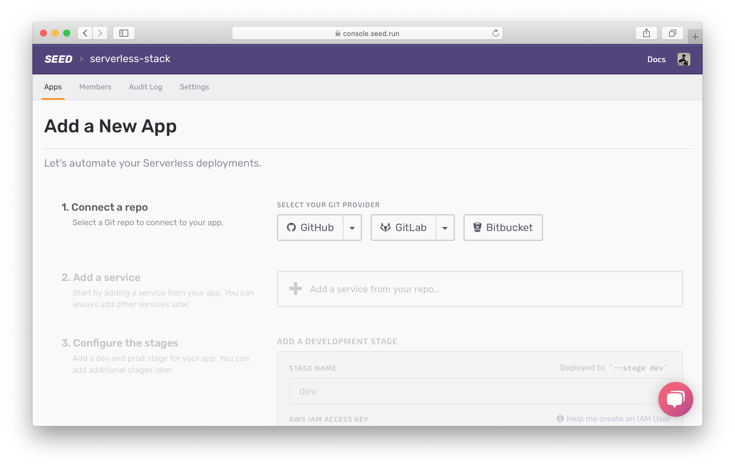 Select Git provider screenshot