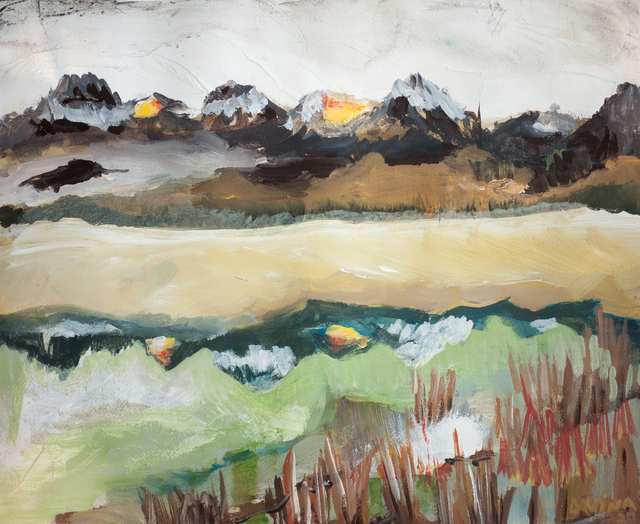 Sacred Landscapes Little Redfish Lake, acrylic on paper