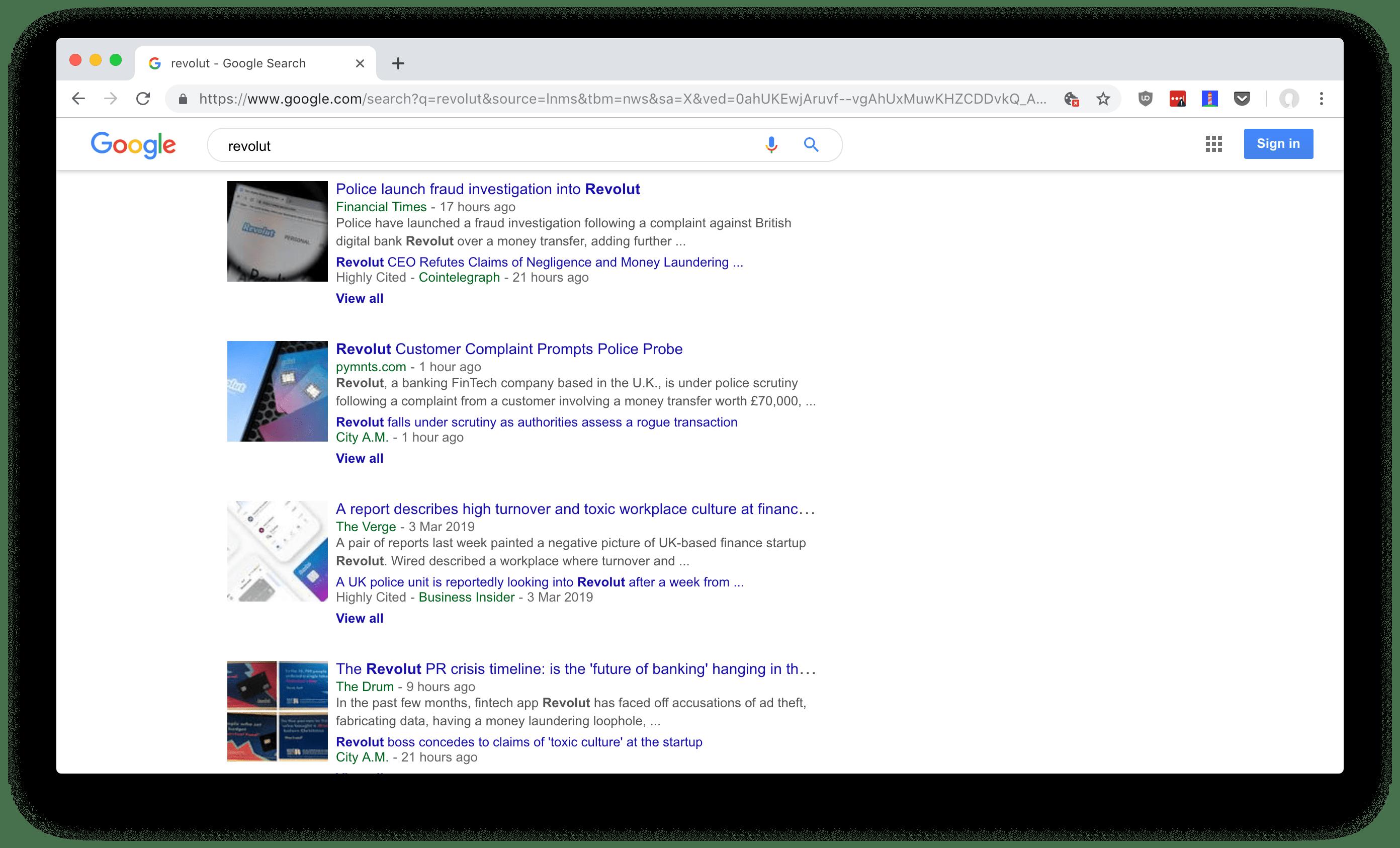 Screenshot of Google News results for Revolut