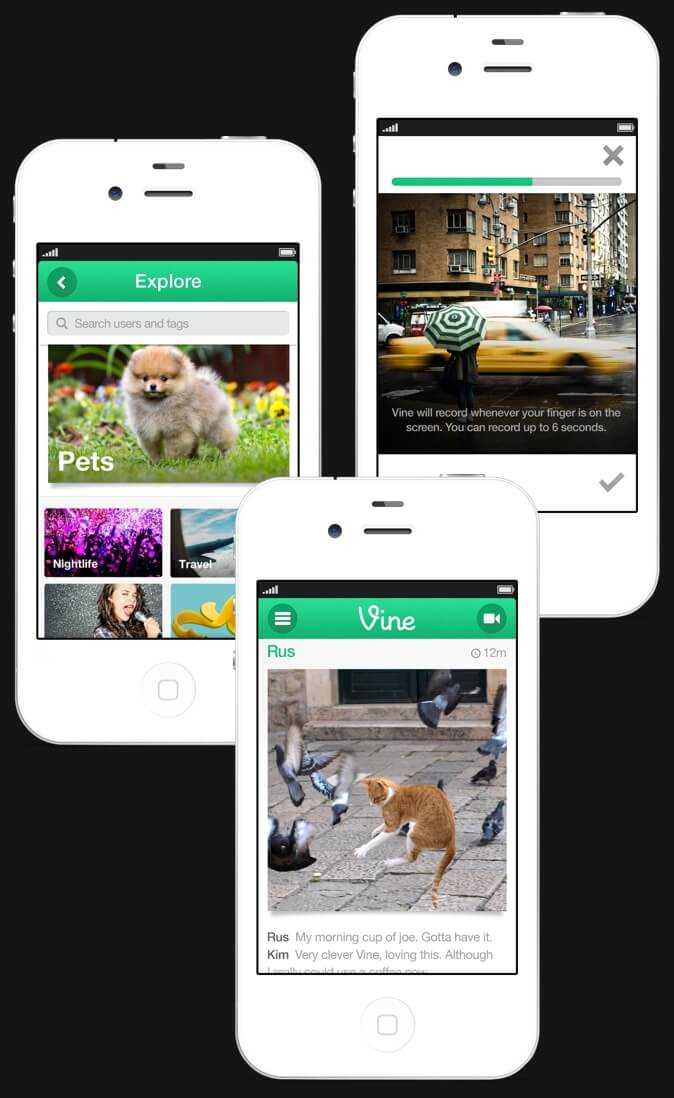 Early Vine mobile screens