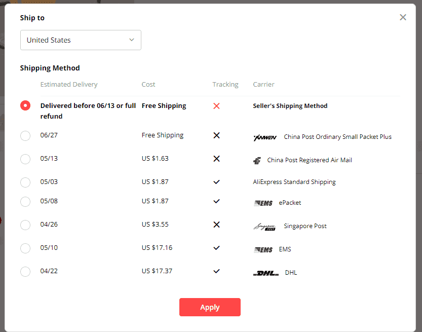 Set Default shipping methods