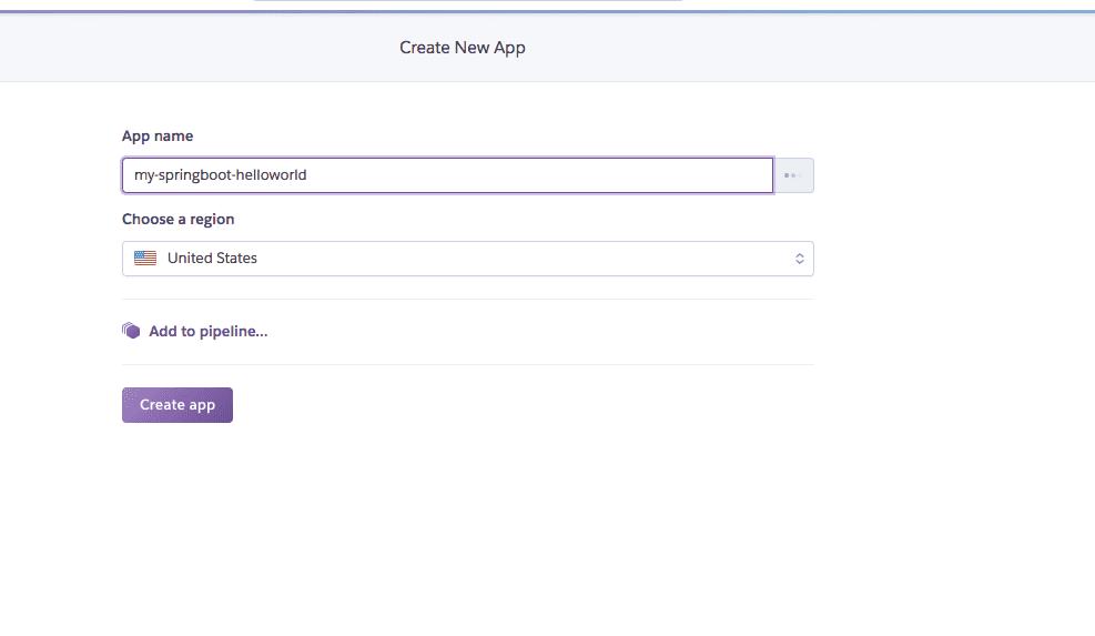Heroku: create new app
