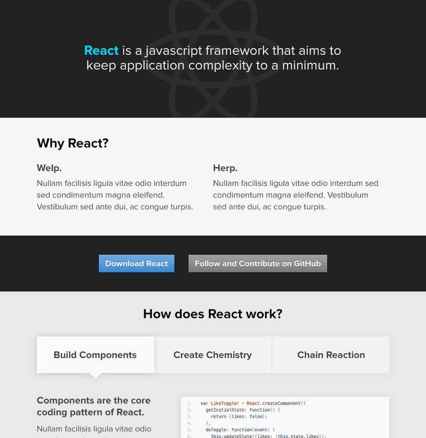 React website mock