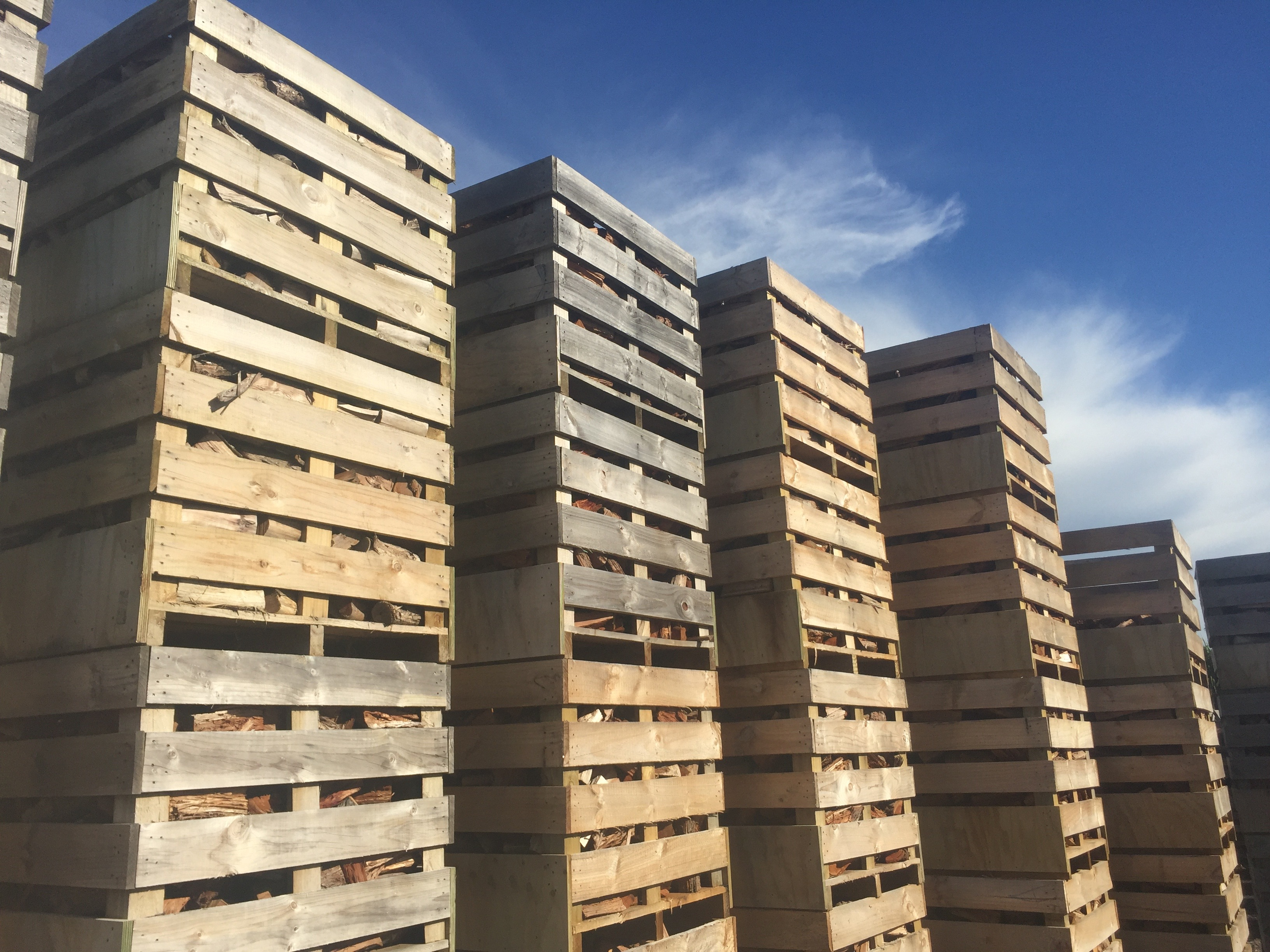 Stacked crates of dry Auckland firewood