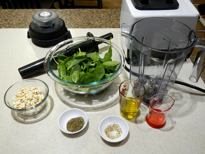 Spinach Pesto Setup