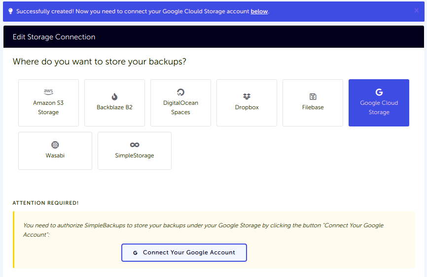 Storage list with newly created Google Cloud Storage