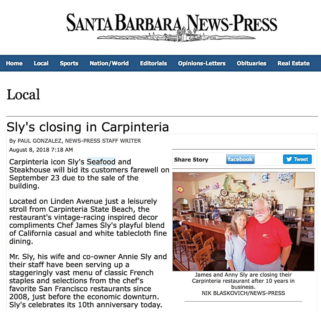 20180808 Santa Barbara News-Press mention of Sly's'