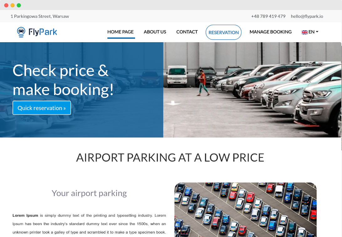 parking website airport