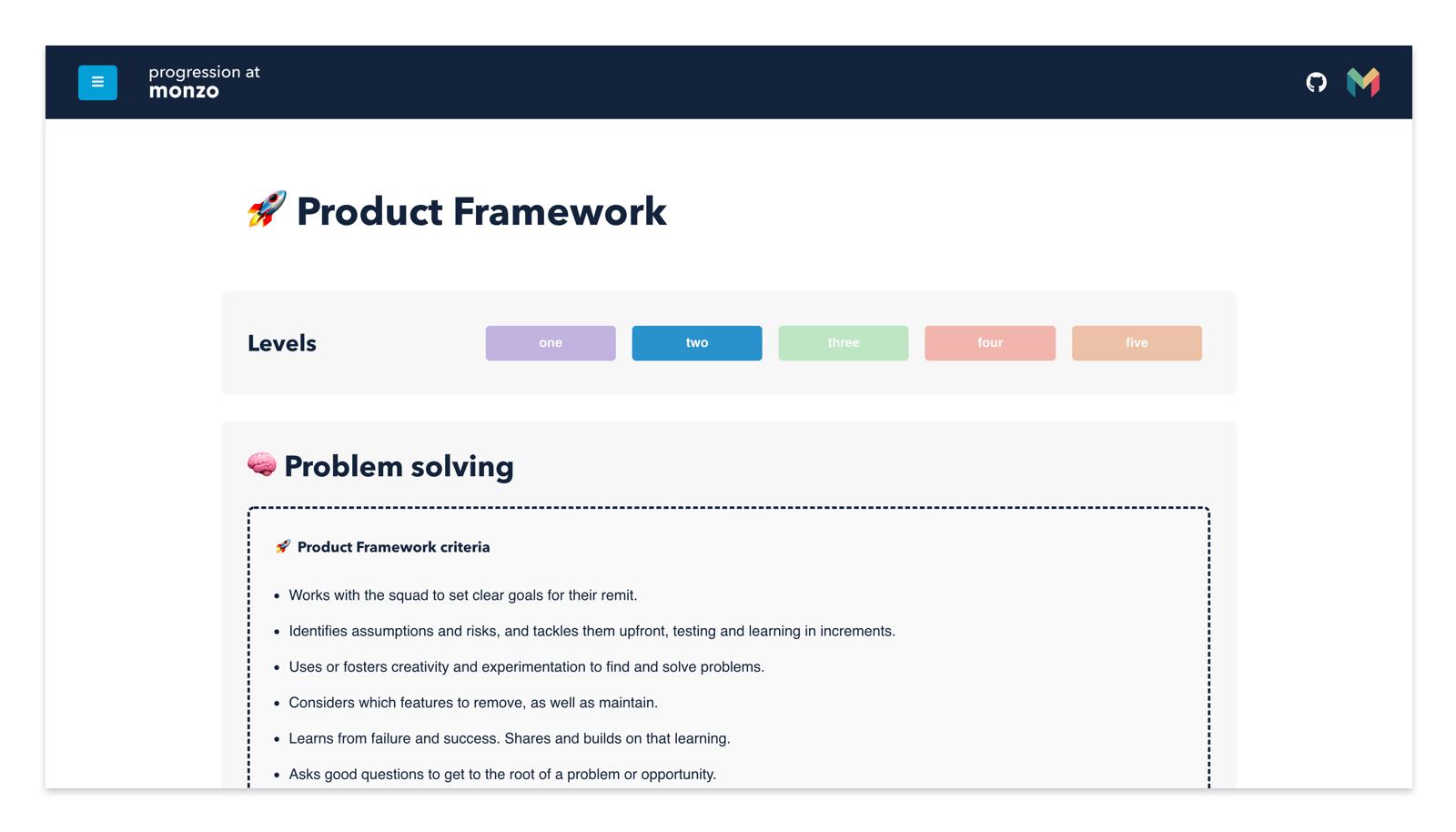 Screenshot of the progression framework website