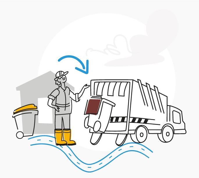 Collecte poubelle par un camion