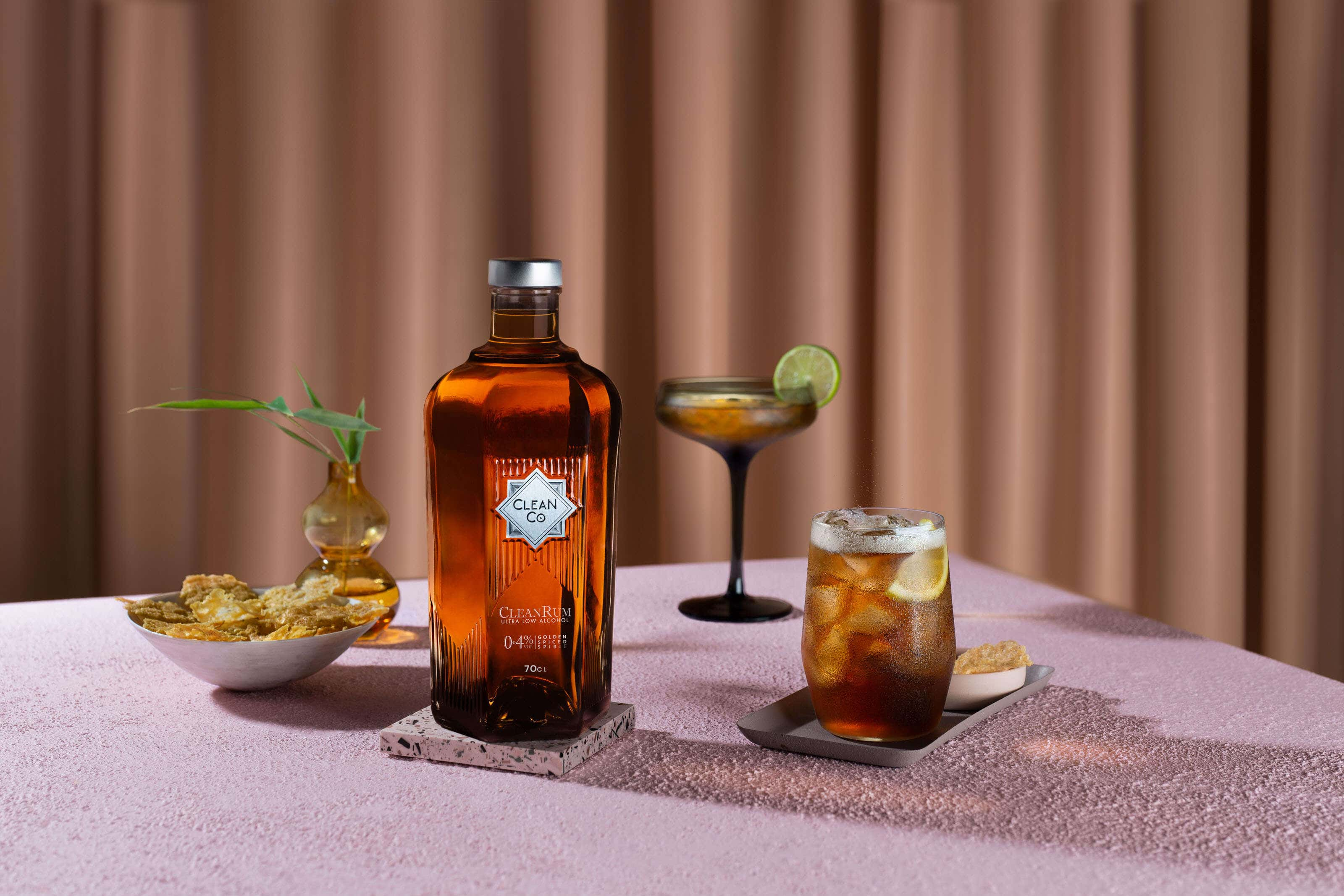 clean co rum with cocktails