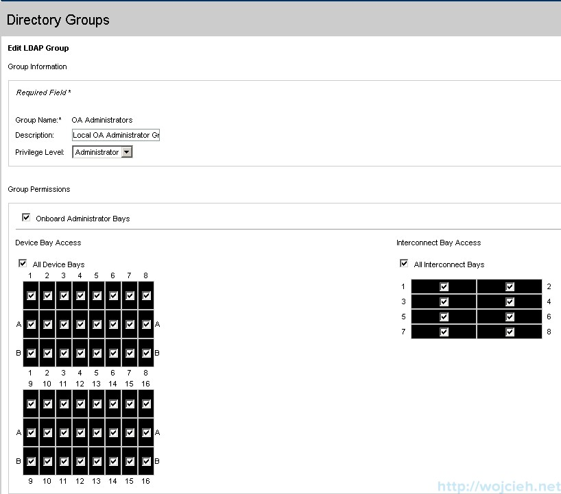 Onboard Administrator Directory Groups