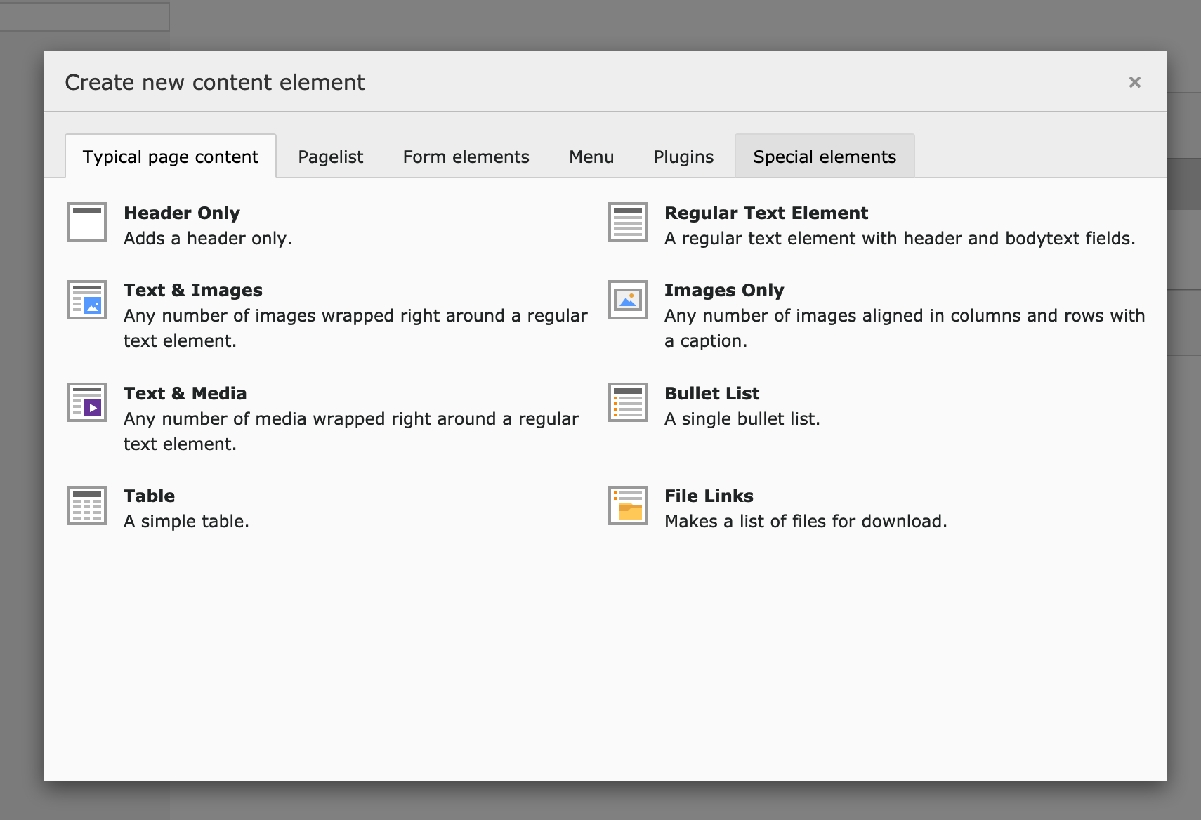TYPO3 new content element