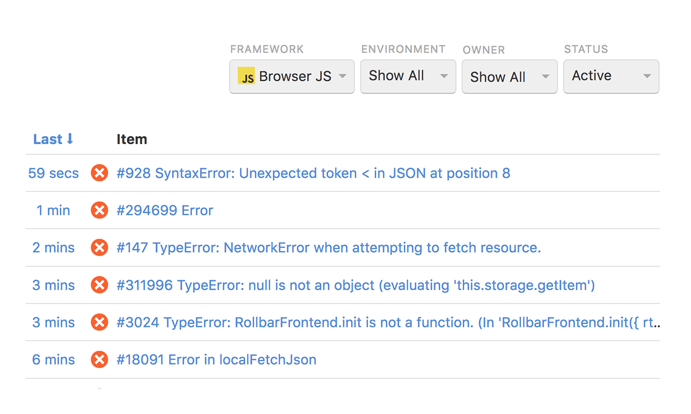 Real-time Node.js error reporting