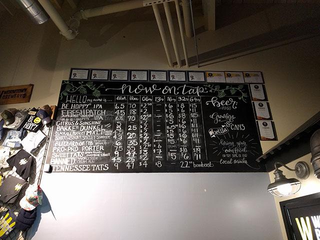 Wormtown Brewing taproom beer menu
