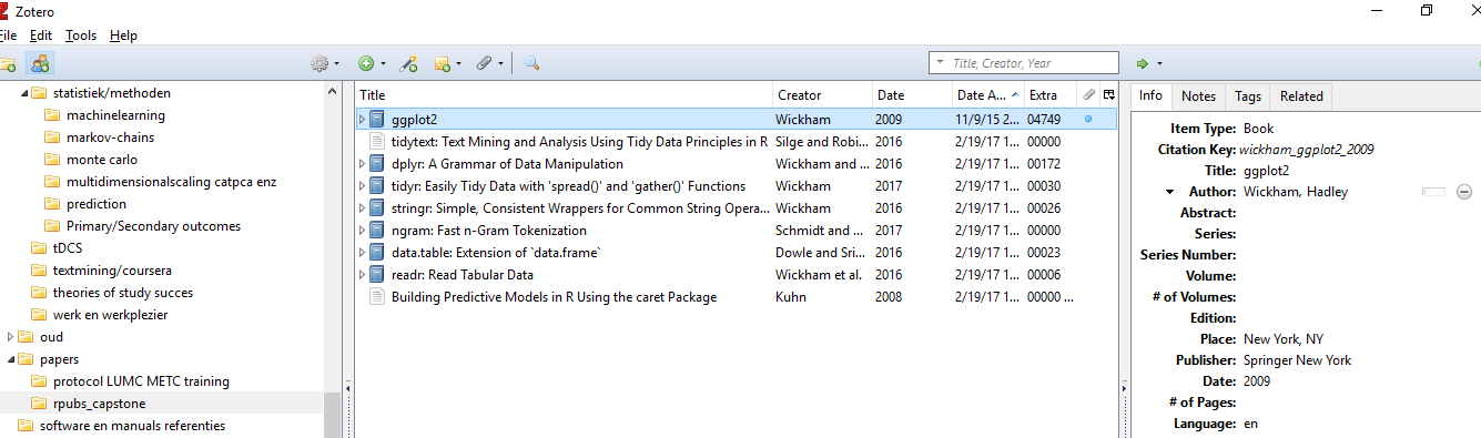 a snapshot of zotero on my pc