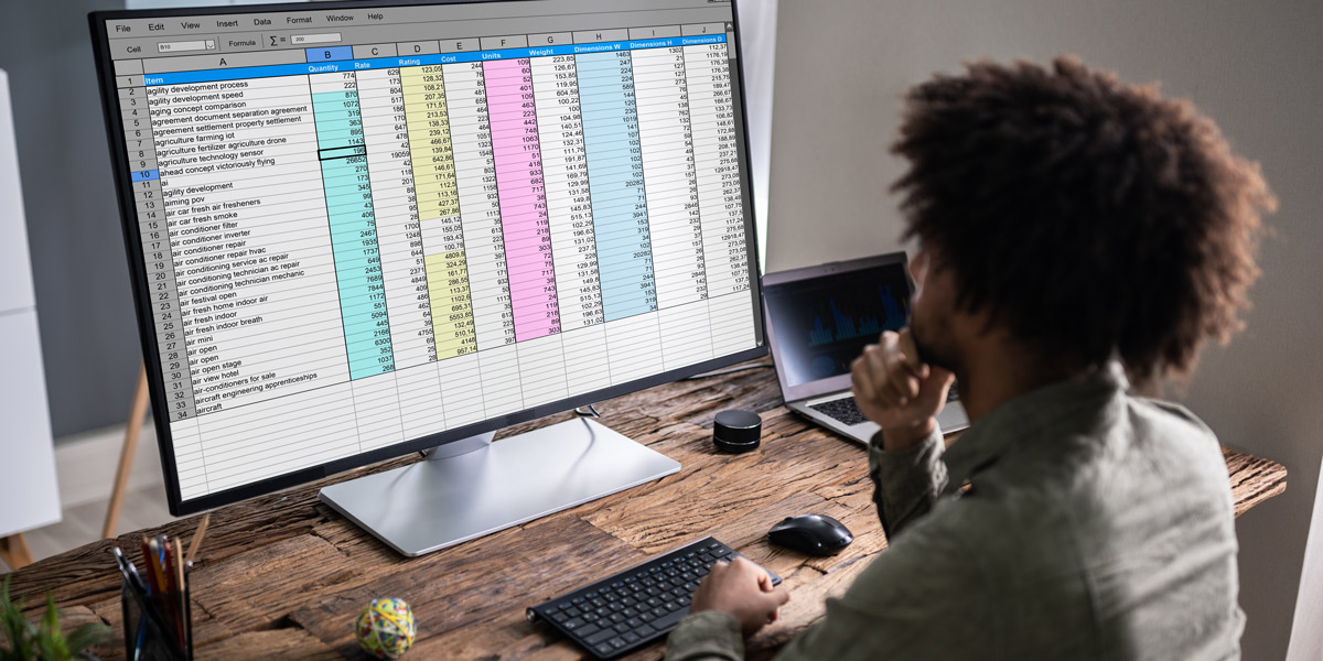A data analyst looking at a spreadsheet on a computer screen