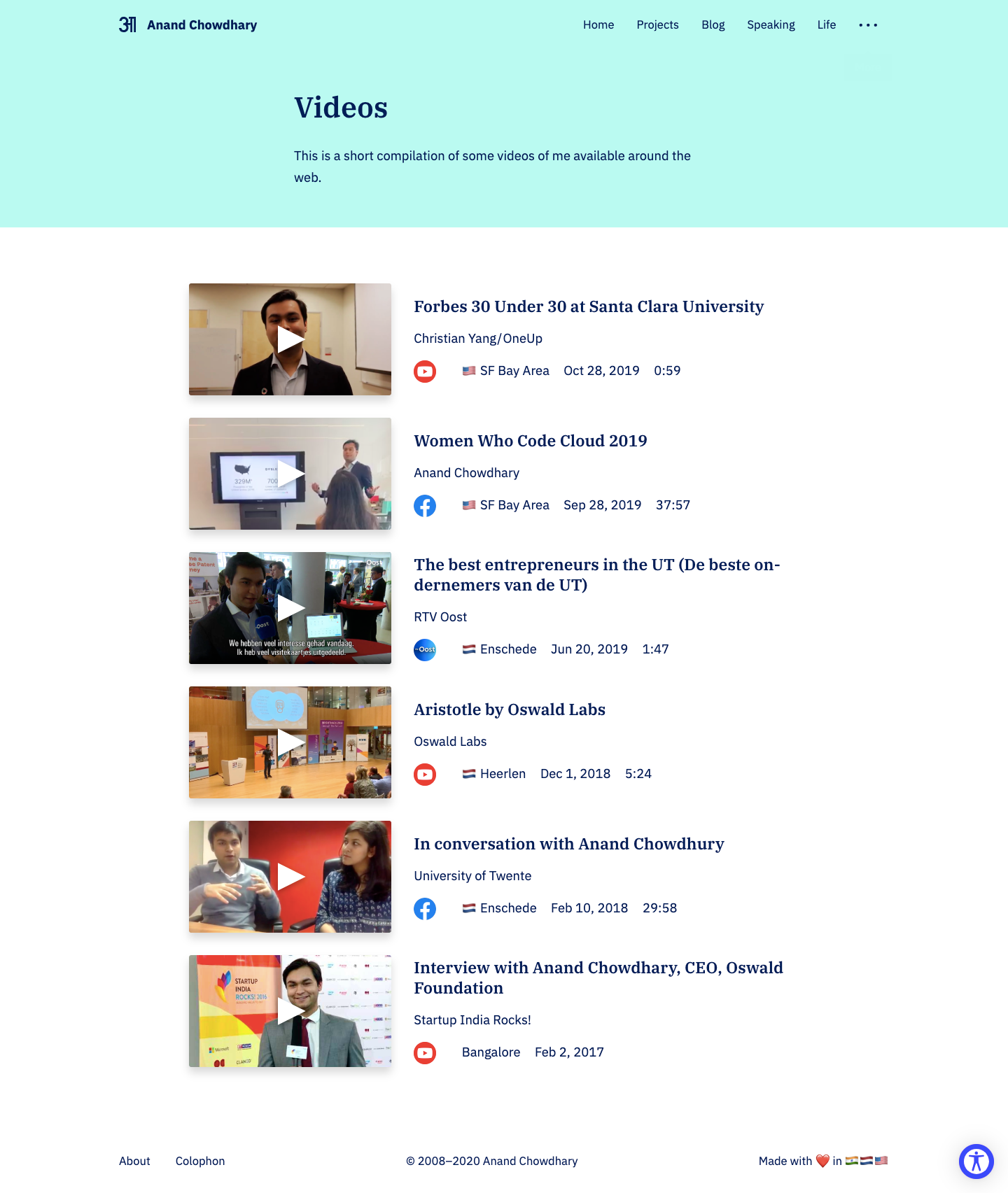 Screenshot of Videos page