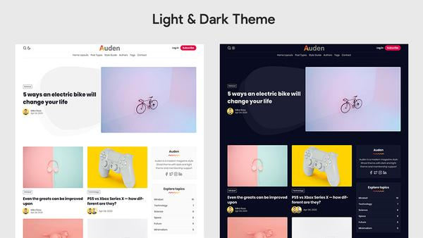 Auden Ghost Theme Dark & Light Theme