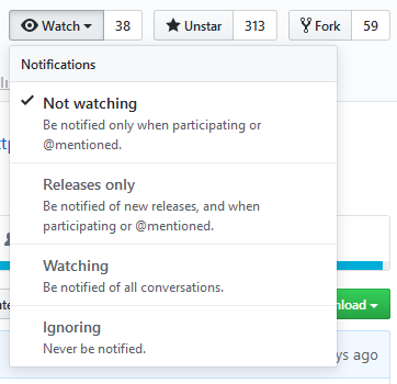 "Select ""Releases only"" from the ""Watch"" dropdown on a repository page"