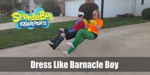 Barnacle Boy wears a red long-sleeved shirt, a pair of rubber shorts, blue fins, and a white sailor's hat. Here's everything you need to look like Barnacle Boy