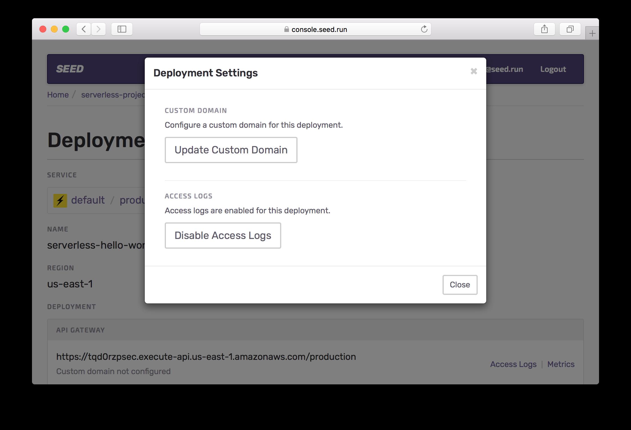 Select update Custom Domain option Screenshot