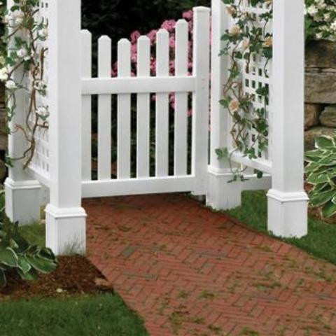 Cottage Picket Gate Installed on a garden path