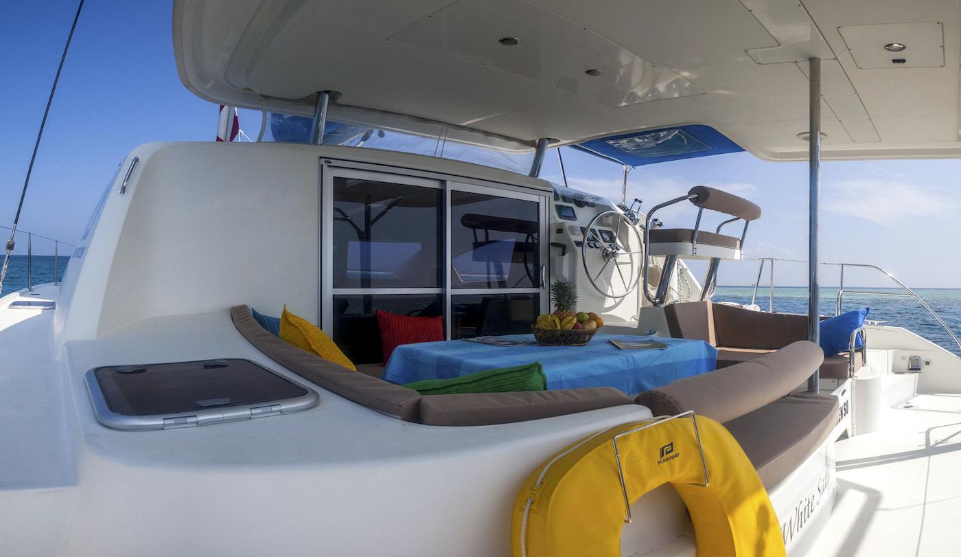 Blue Horizon Surf Catamaran Private Charter Outside Dining Area