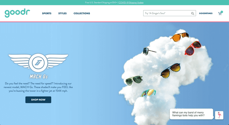 Goodr's Shopify Website Homepage