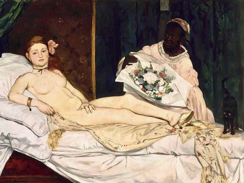 Exhibited at the Salon in 1865, Edouard Manet's Olympia (a painting of a prostitute) sparked uproar. But it gave the other impressionists confidence that they could take on the conversative art establishment.