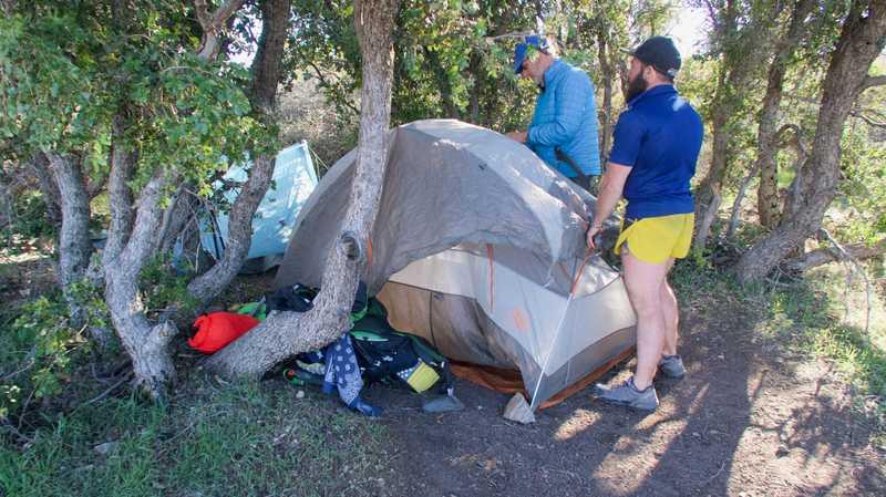 Tengo and Bookworm set up tents