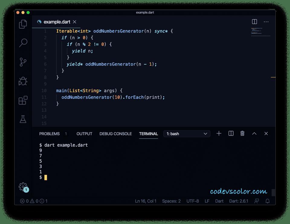 Dart synchronous generator recursive