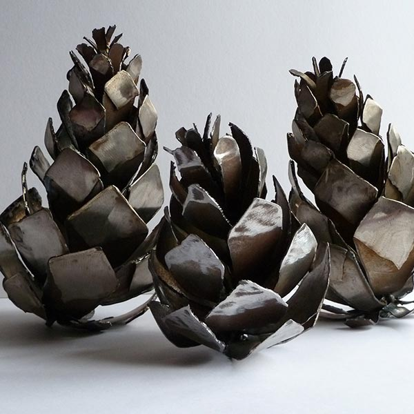 Pine cones, stainless, steel