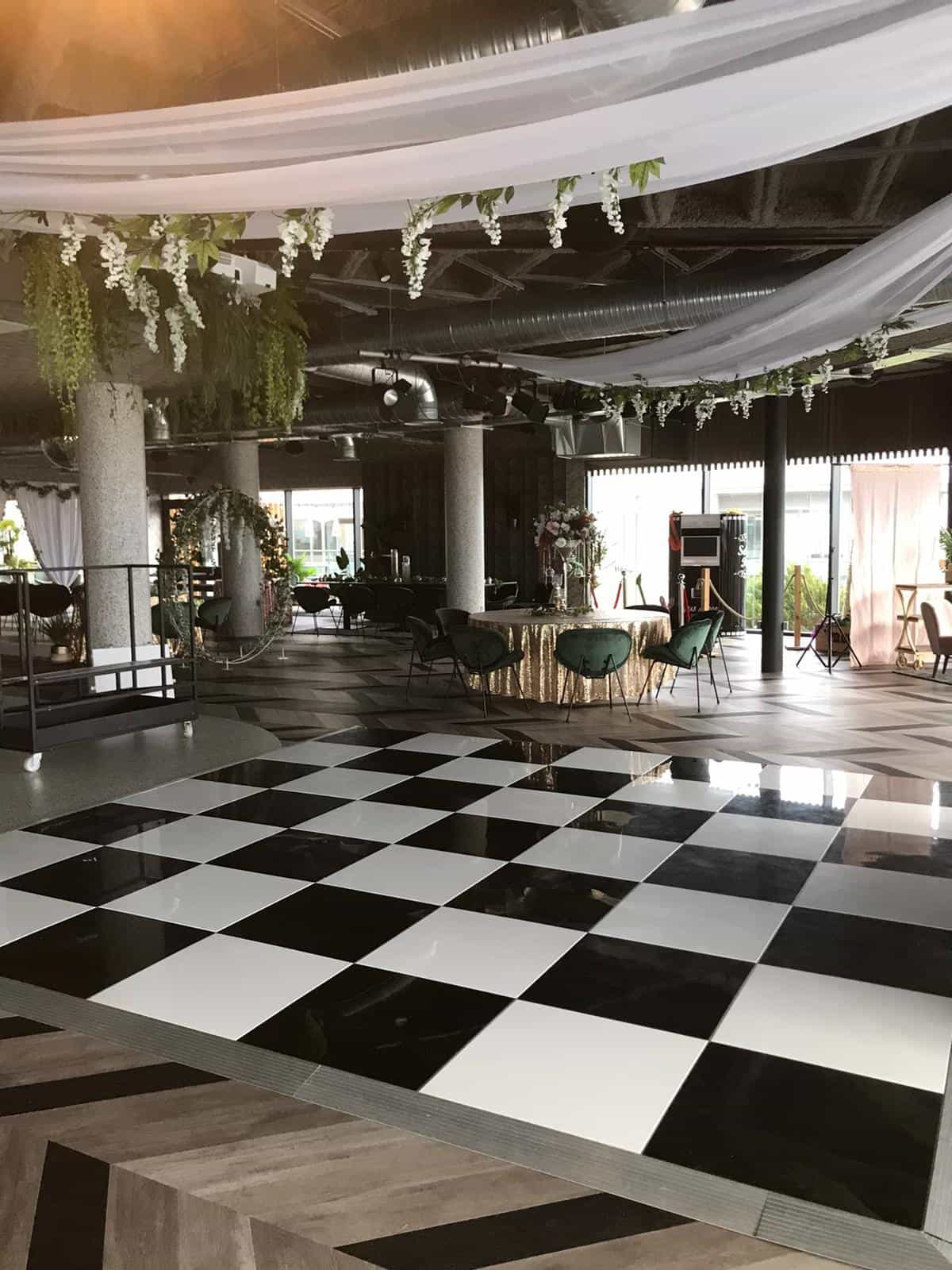 Wedding black and white chessboard style dancefloor at the Bliss hotel southport