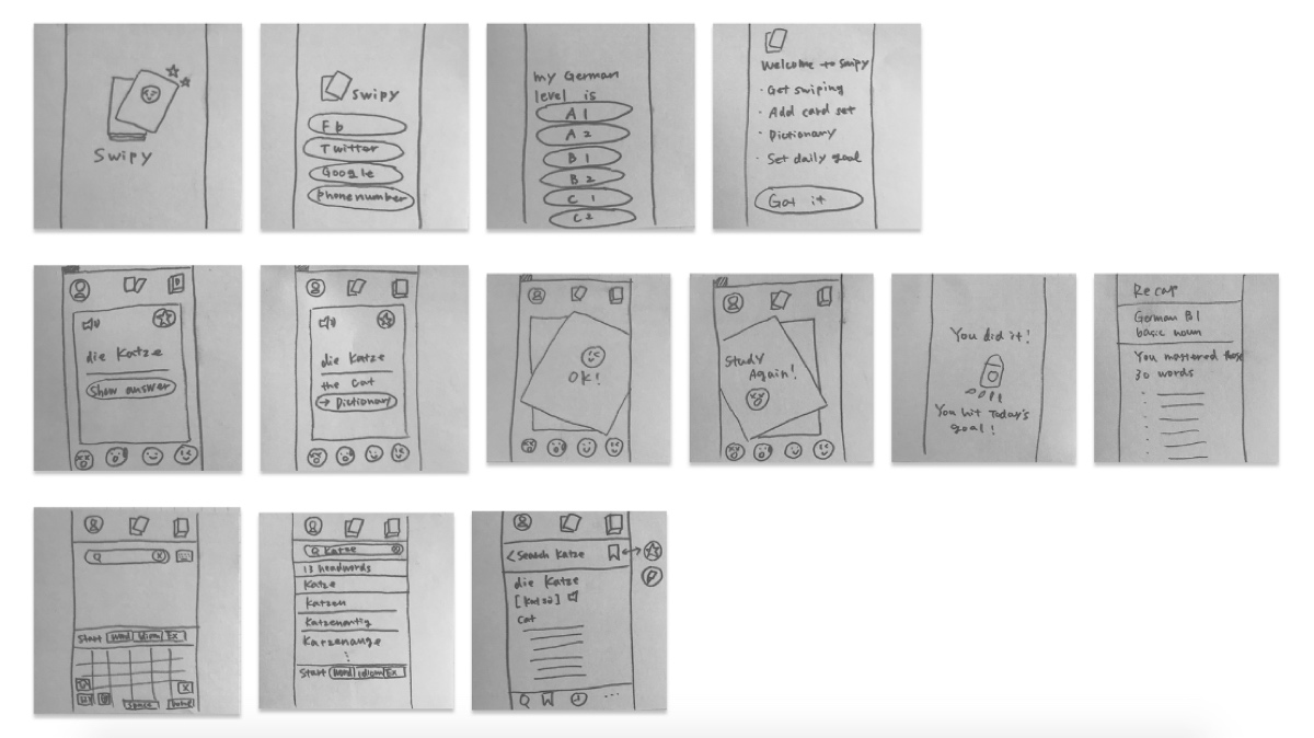 Initial sketches for the Swipy app, by Risa Nakajima