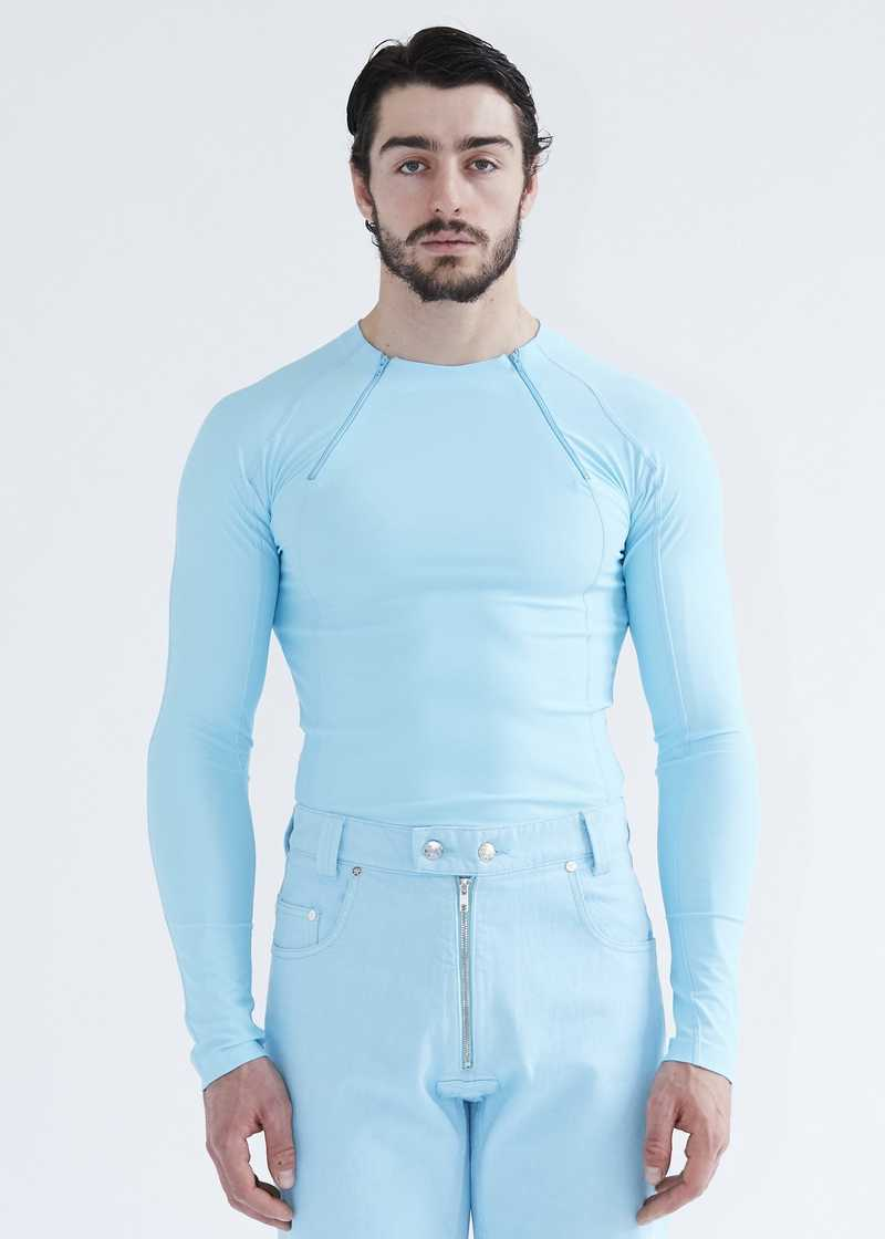 ANDE Rashguard Lycra Jumper in Light Blue Turquoise recycled ocean waste polyamide. GmbH SS20 Spring Summer 2020 collection. Available at gmbhgmbh.eu.