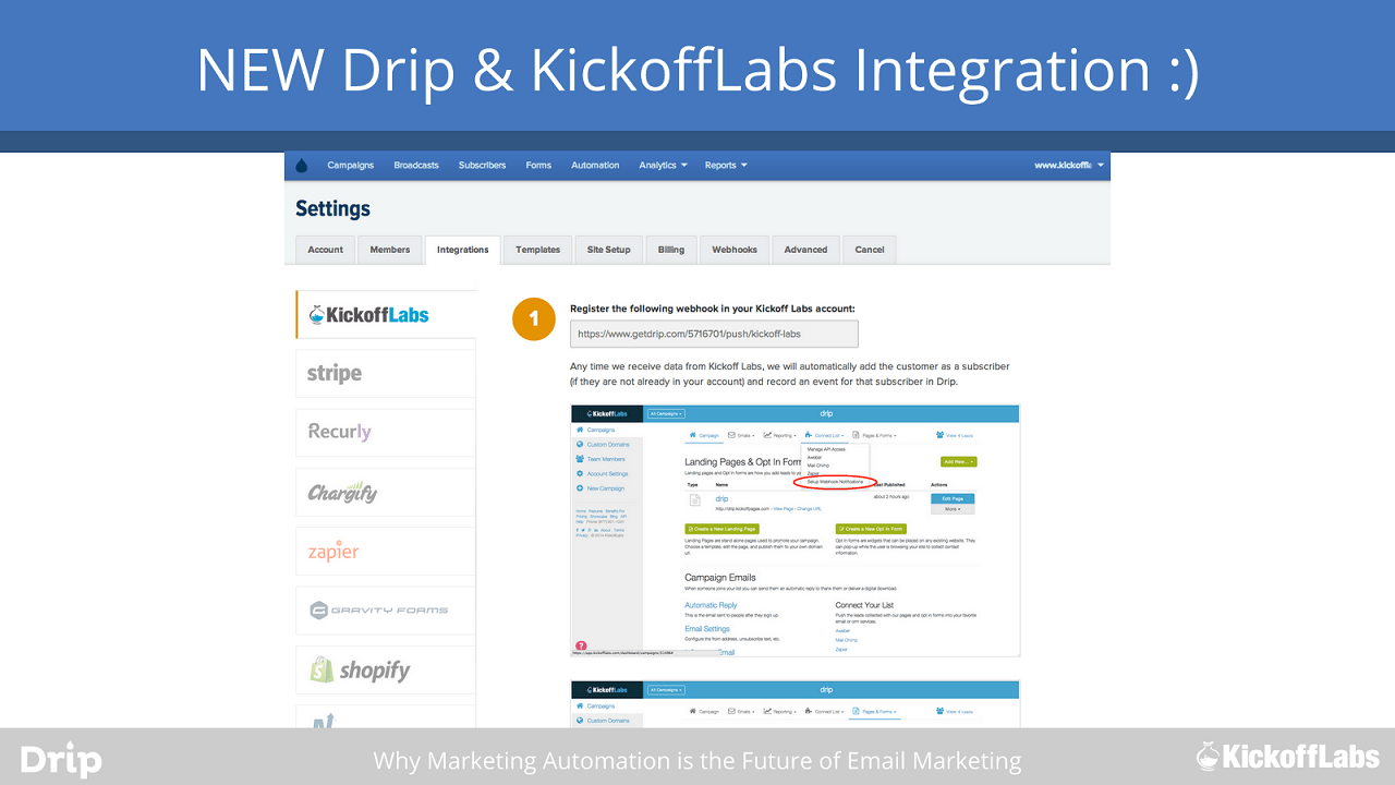 drip and kickofflabs integration